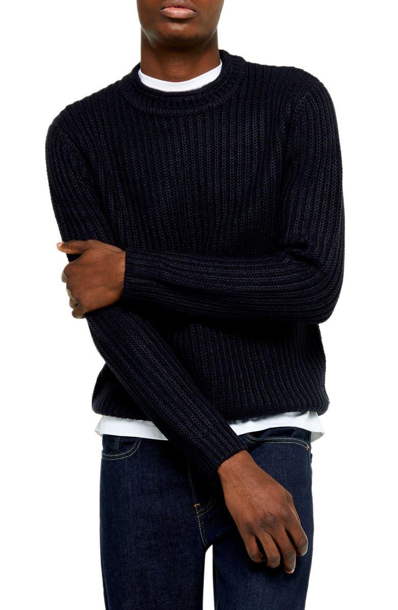 TOPMAN Chunky Crewneck Sweater, Main, color, NAVY BLUE