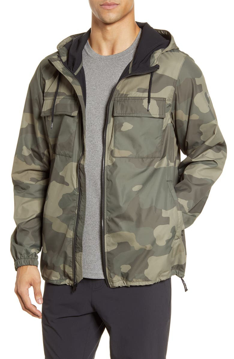 ALO Stride Camo Hooded Jacket, Main, color, OLIVE BRANCH CAMOUFLAGE