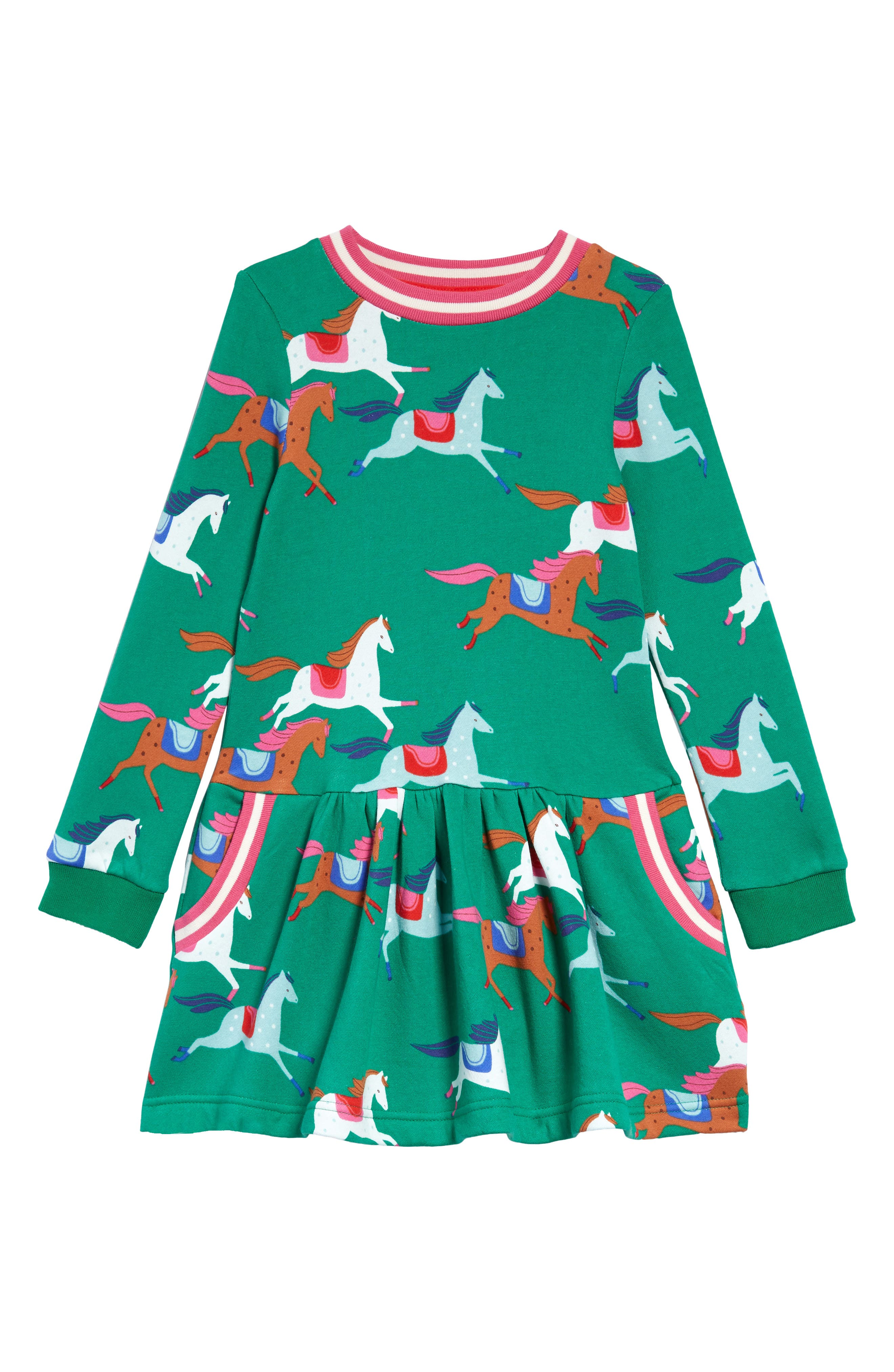 Whimsical highland horses prance around a sweatshirt-style dress in comfy cotton with striped rib trim. Style Name: Mini Boden Kids\\\' Horse Print Dress (Toddler, Little Girl & Big Girl). Style Number: 6116145. Available in stores.
