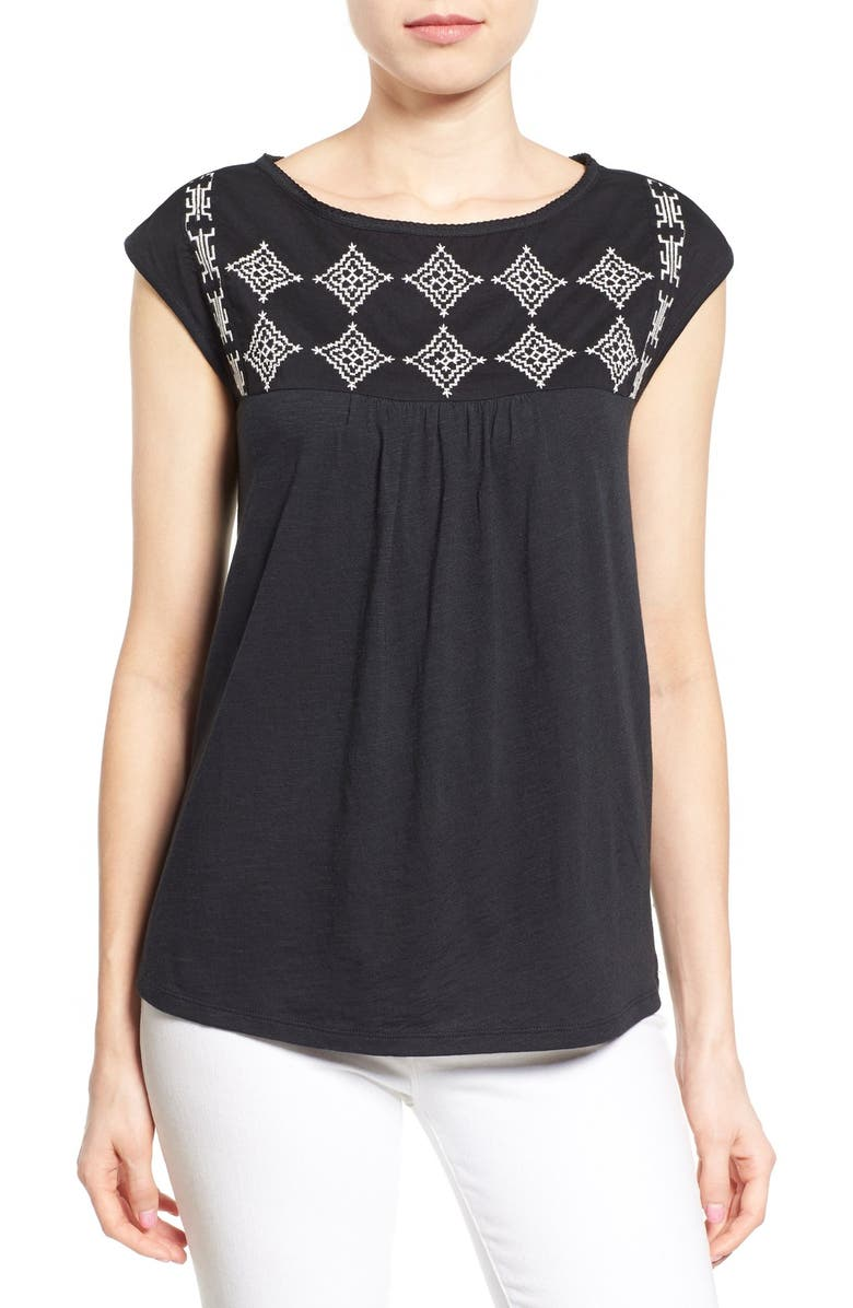 CASLON<SUP>®</SUP> Embroidered Cap Sleeve Knit Top, Main, color, 001