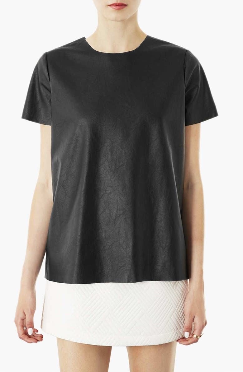 TOPSHOP 'Paloma' Faux Leather Tee, Main, color, 001