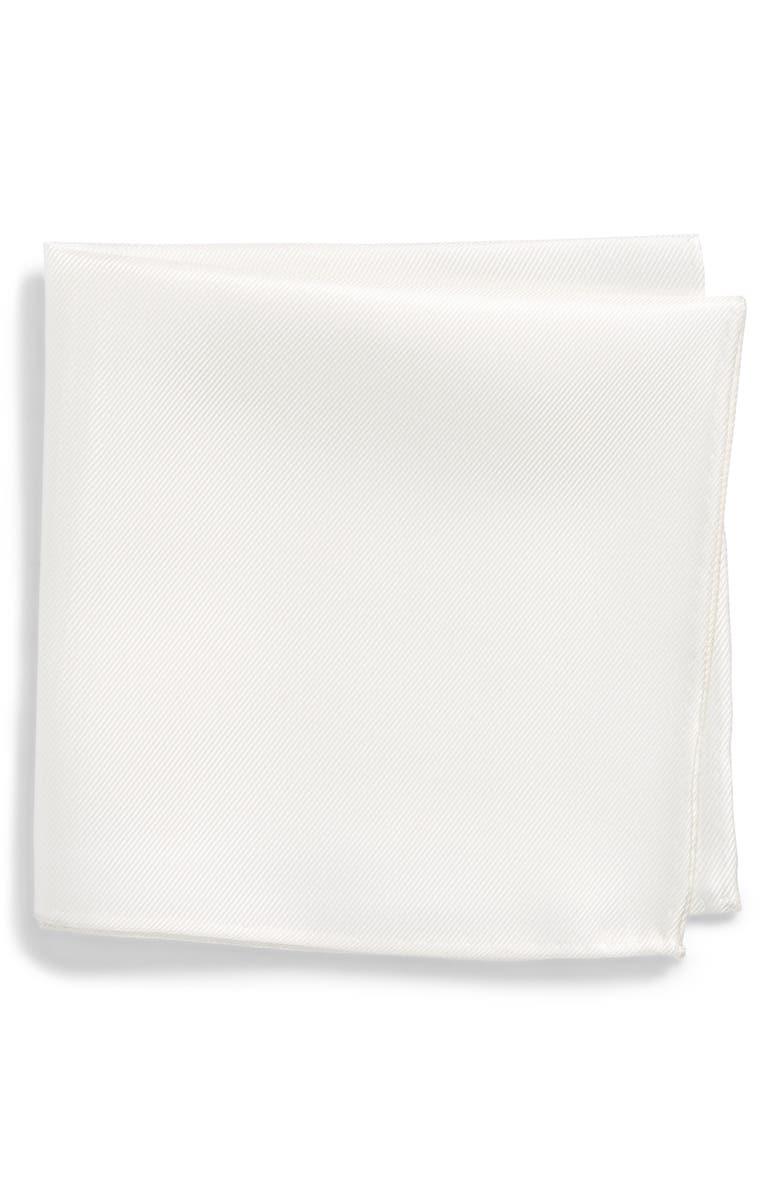 NORDSTROM MEN'S SHOP King Twill Silk Pocket Square, Main, color, WHITE