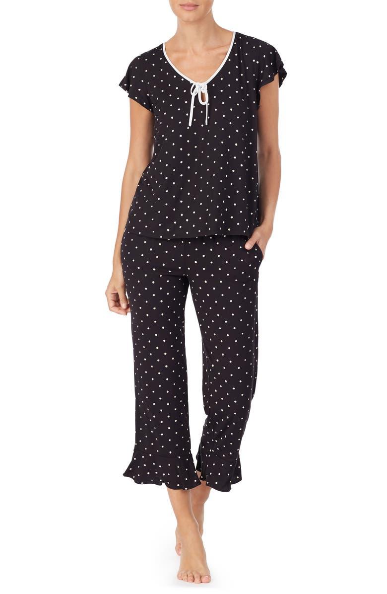 KATE SPADE NEW YORK doodle dot crpp pajamas, Main, color, 001