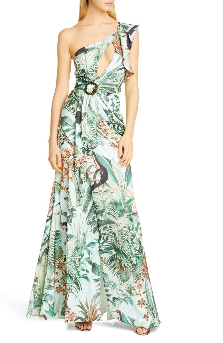 PATBO Eden One-Shoulder Cutout Gown, Main, color, VERDE