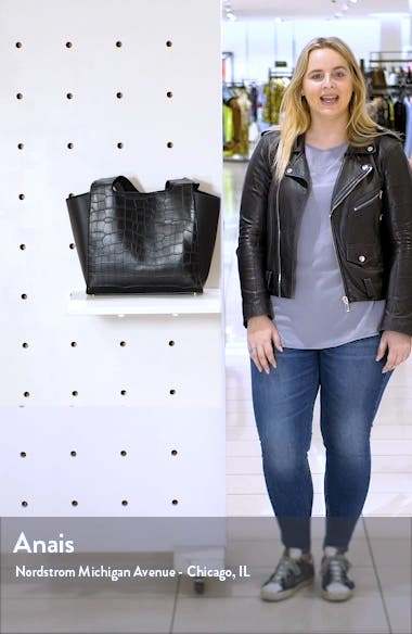 Taylor Croc Embossed Faux Leather Tote, sales video thumbnail