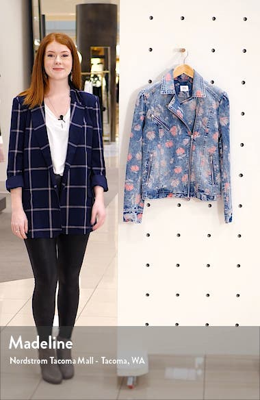 Floral Print Denim Moto Jacket, sales video thumbnail