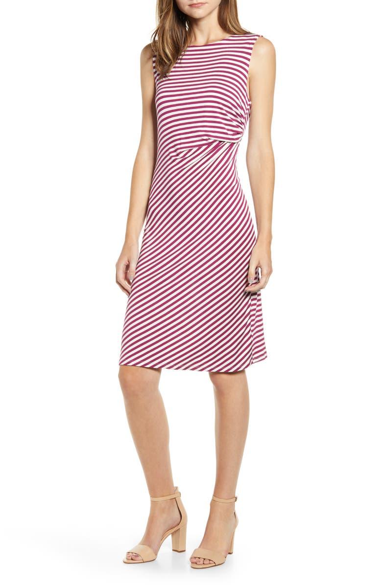 BOBEAU Side Drape Knit Dress, Main, color, MULBERRY/ WHITE STRIPE