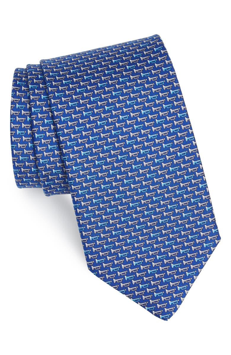 SALVATORE FERRAGAMO Idris Print Silk Tie, Main, color, F.BLUE