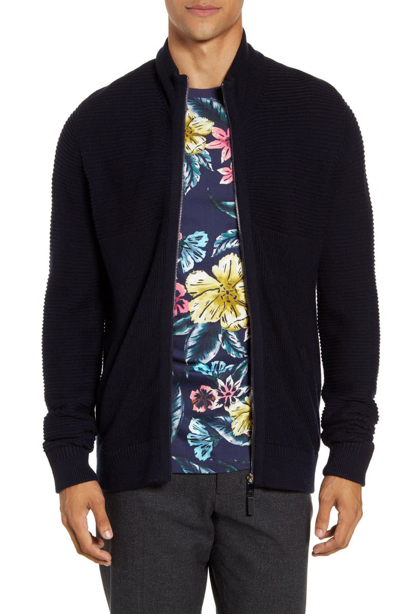 TED BAKER LONDON Zip Front Ribbed Cardigan, Main, color, NAVY