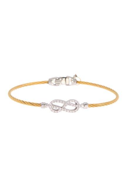 Image of ALOR 18K White Gold Stainless Steel Diamond Eternity Knot Bracelet - 0.27 ctw
