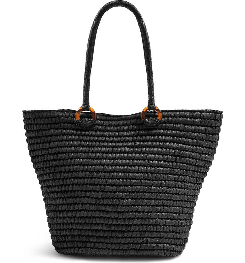 TOPSHOP Franka Straw Ring Tote Bag, Main, color, 001