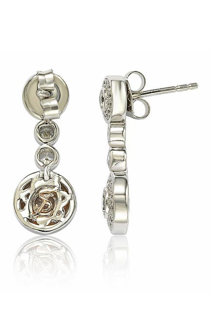 Image of Suzy Levian Sterling Silver CZ Graduating Circle Earrings