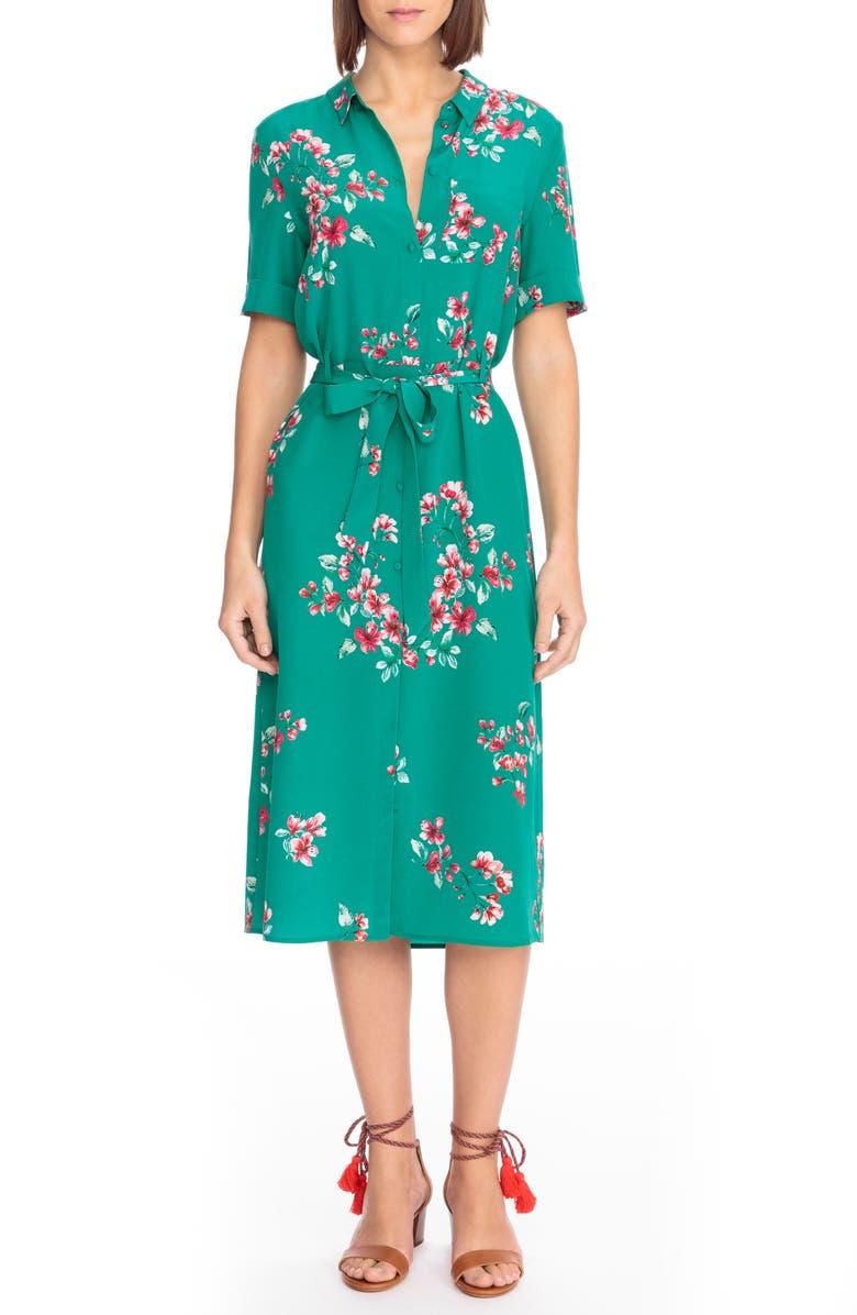 SÉZANE Lexia Floral Silk Shirtdress, Main, color, 440