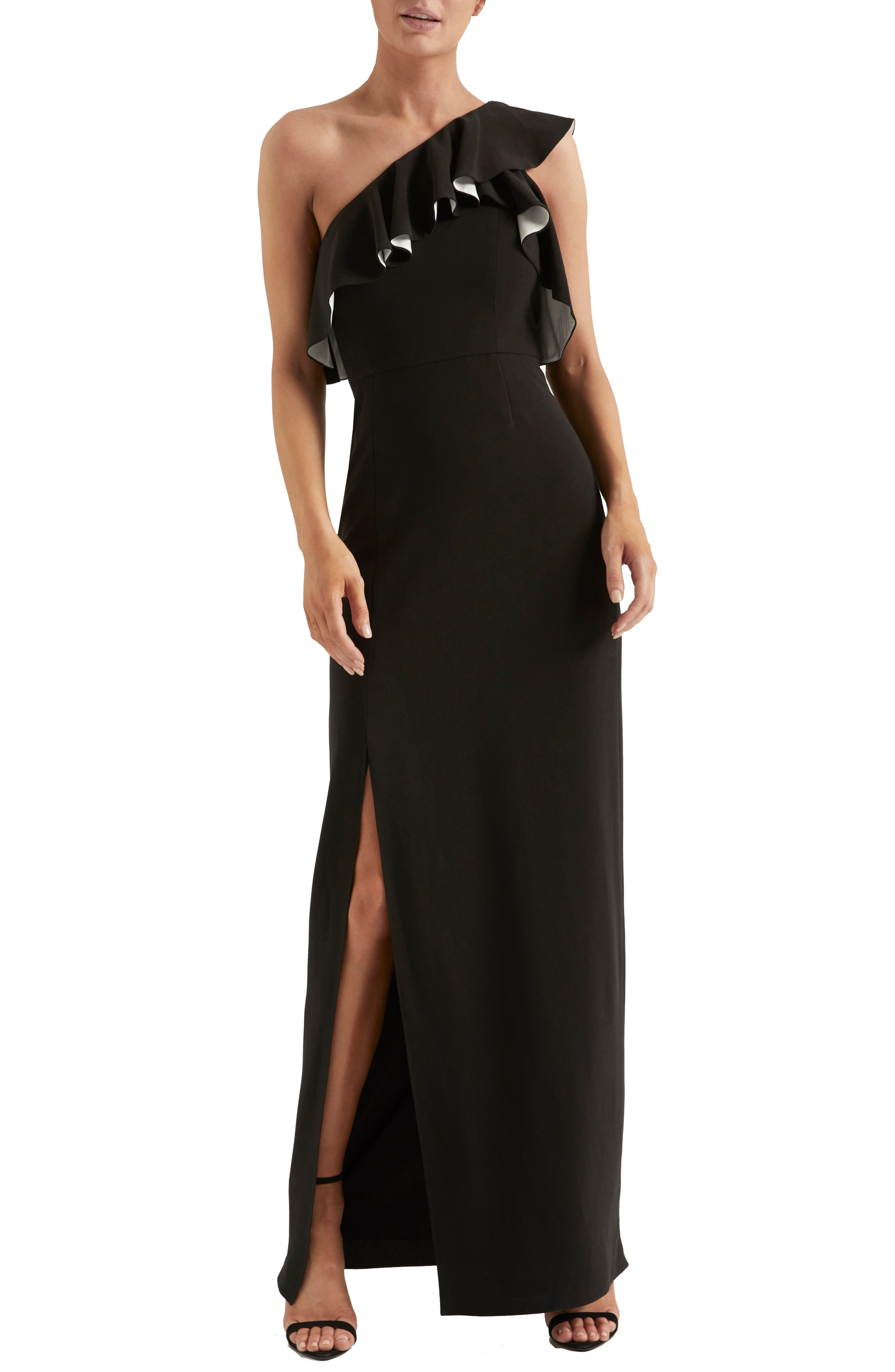 70s Prom, Formal, Evening, Party Dresses Womens Halston Heritage Flounce Crepe Gown $189.00 AT vintagedancer.com