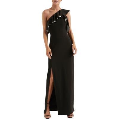 Halston Heritage Flounce Crepe Gown, Black