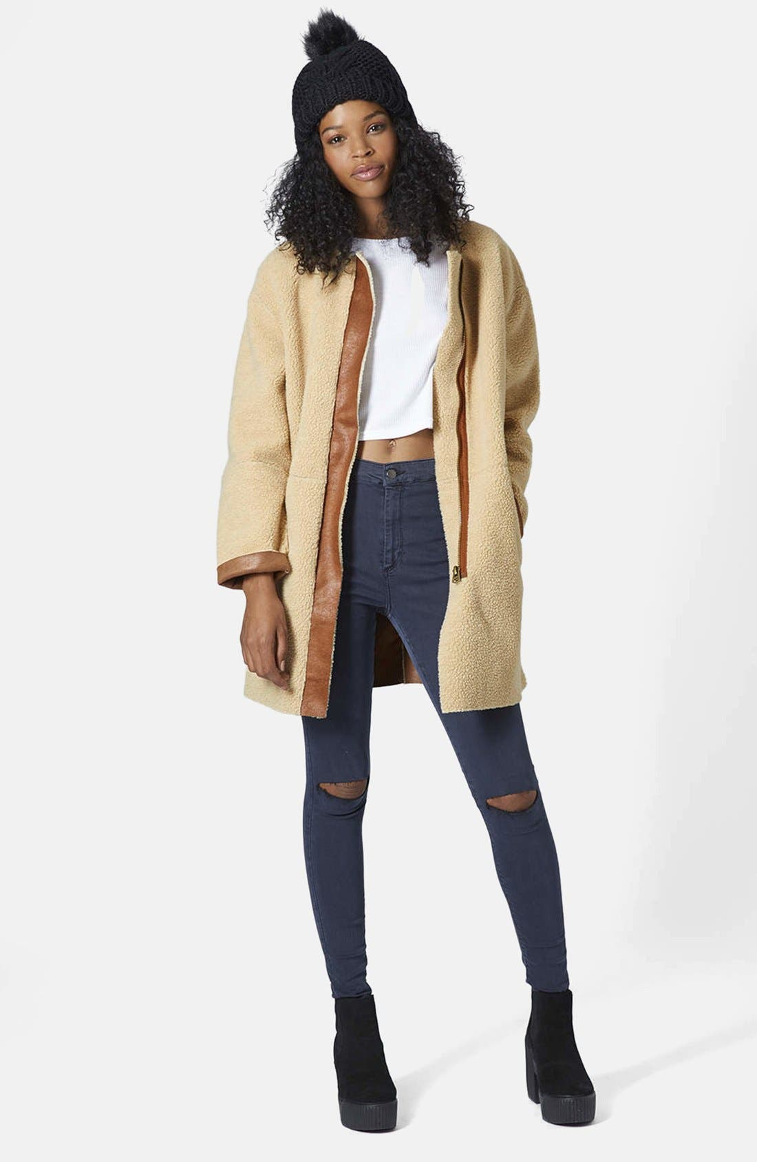 ,                             Faux Shearling Cocoon Jacket,                             Alternate thumbnail 15, color,                             210