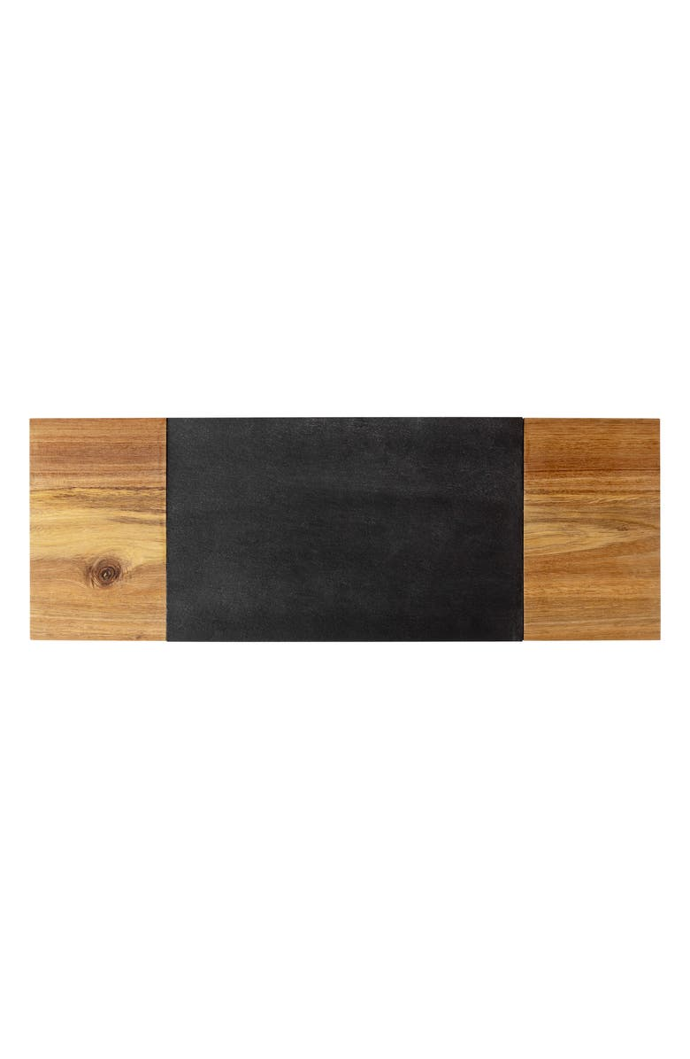 CATHY'S CONCEPTS Monogram Slate & Acacia Wood Charcuterie Board & Cheese Knife, Main, color, BLANK