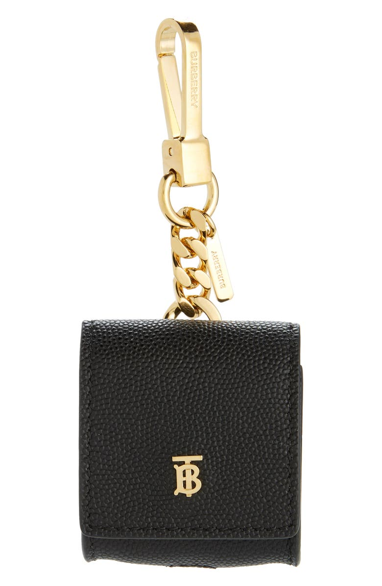 BURBERRY Leather Earbud Case, Main, color, BLACK