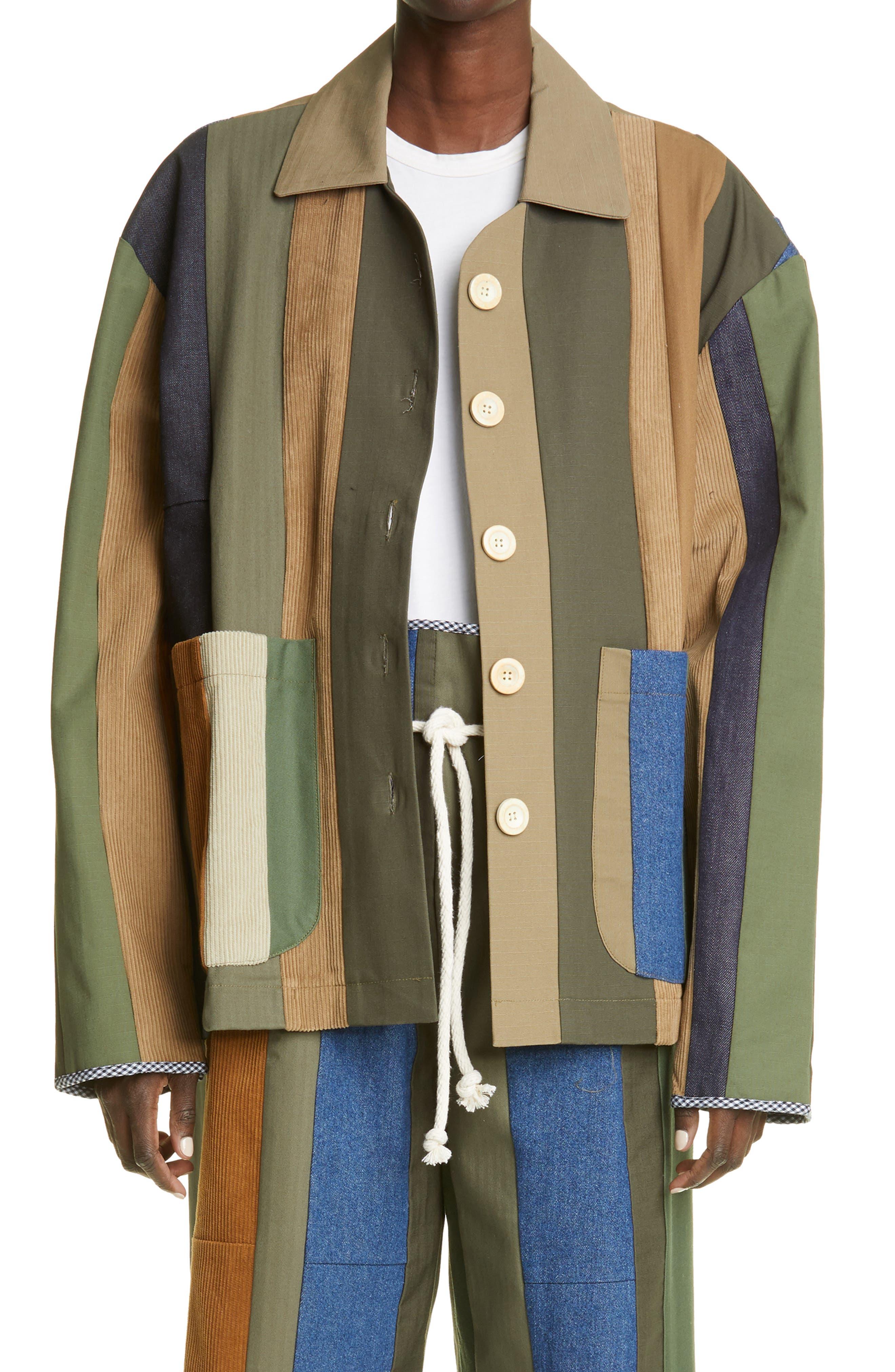 Unisex One Of A Kind Patch Stripe Jacket