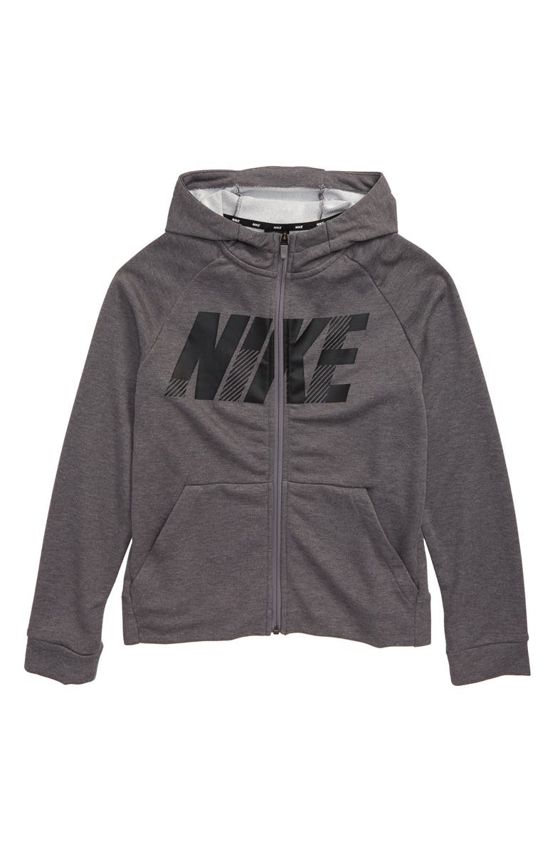 NIKE Dri-FIT Full Zip Hoodie, Main, color, GUNSMOKE/ HEATHER