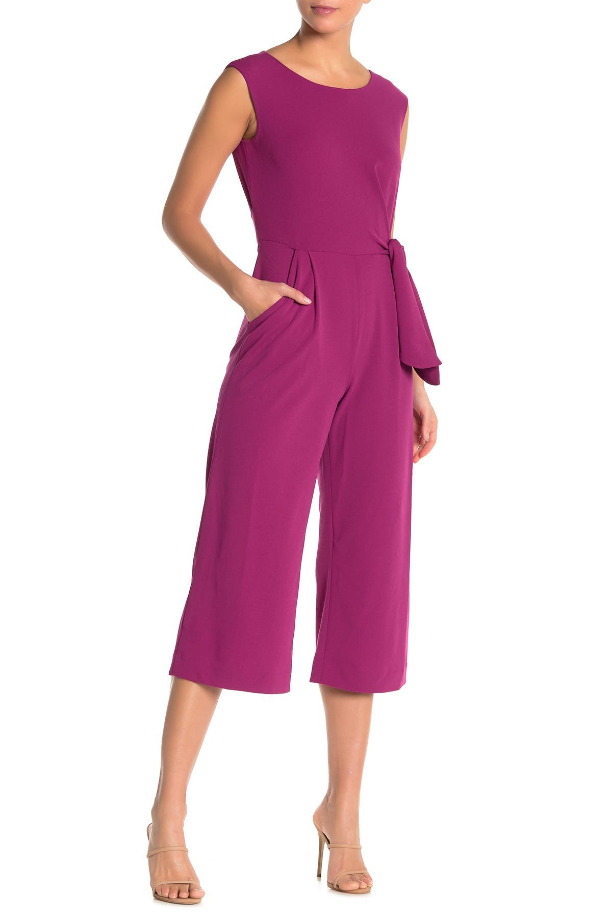 Image of Tahari Crop Tie Waist Jumpsuit