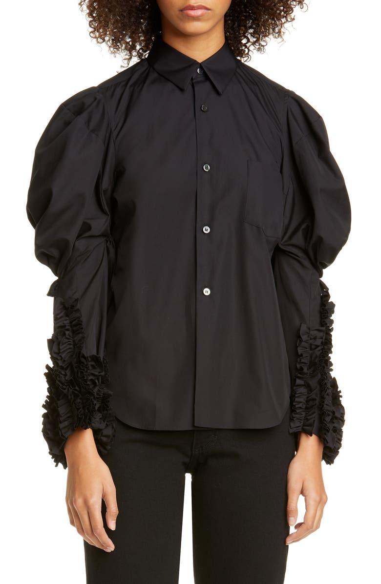 COMME DES GARÇONS Puff Sleeve Ruffle Cotton Shirt, Main, color, 001