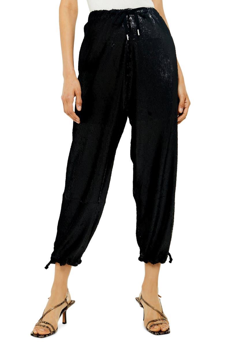 TOPSHOP Sequin Tie Waist Jogger Pants, Main, color, BLACK