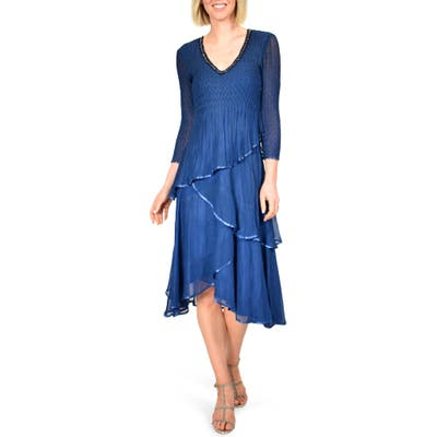 Komarov Beaded Neck Tiered Hem Midi Dress, Blue