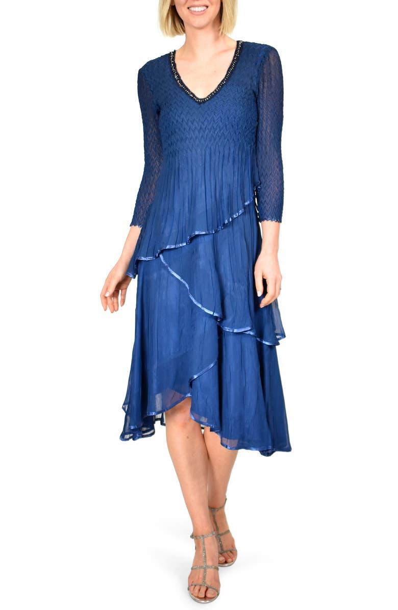KOMAROV Beaded Neck Tiered Hem Midi Dress, Main, color, NAVY BLACK OMBRE
