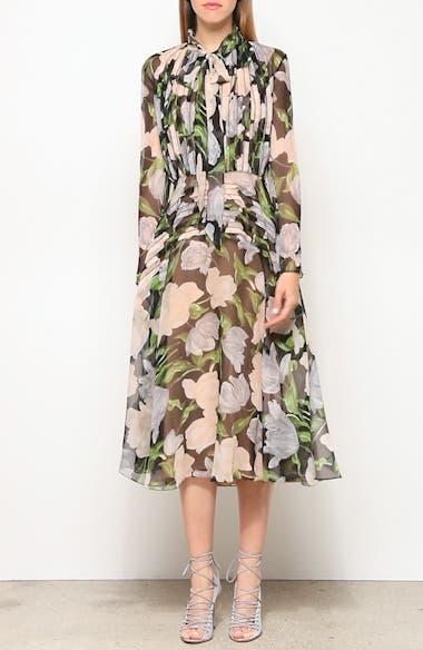 Floral Silk Long Sleeve Midi Dress, video thumbnail
