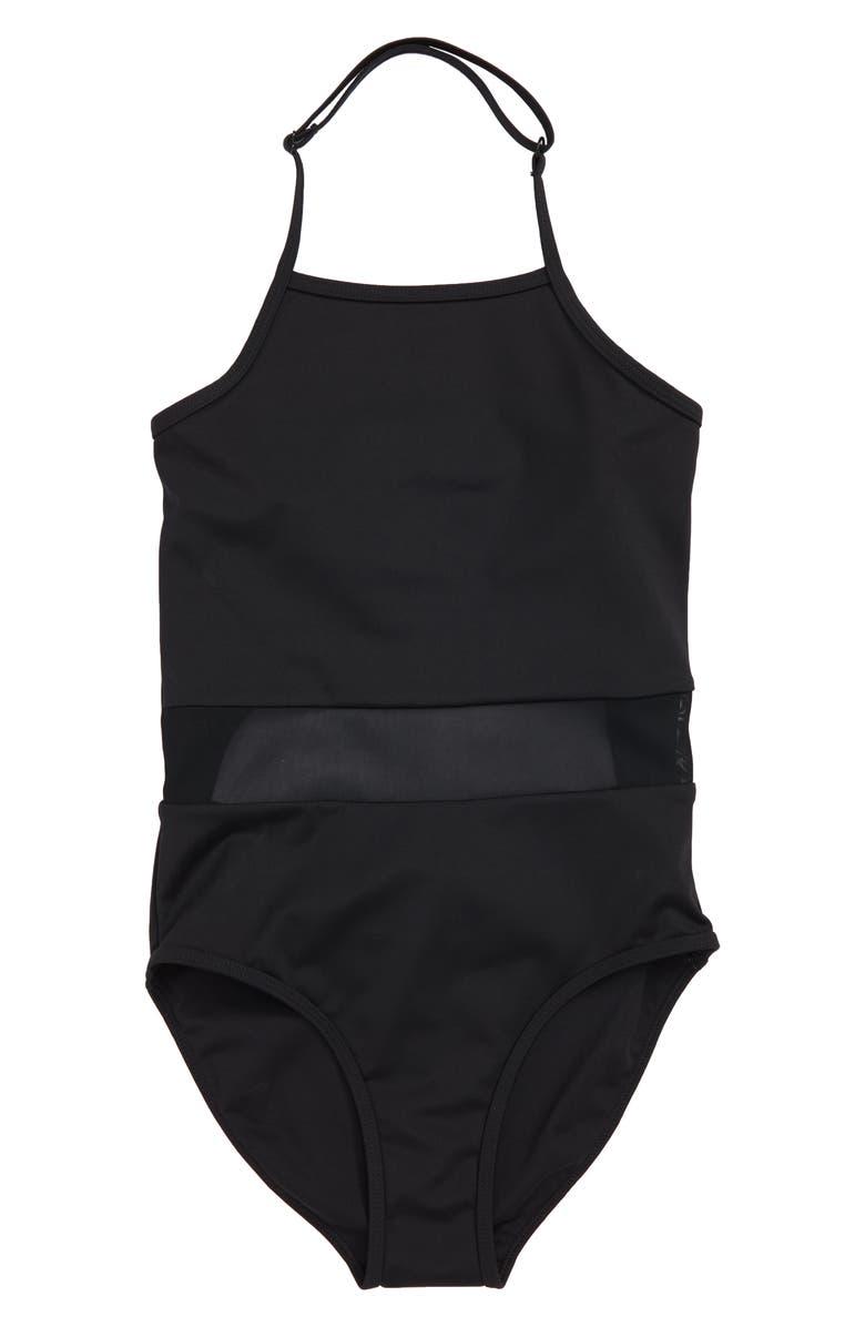 ZELLA GIRL Horizon Mesh Inset One-Piece Swimsuit, Main, color, 001