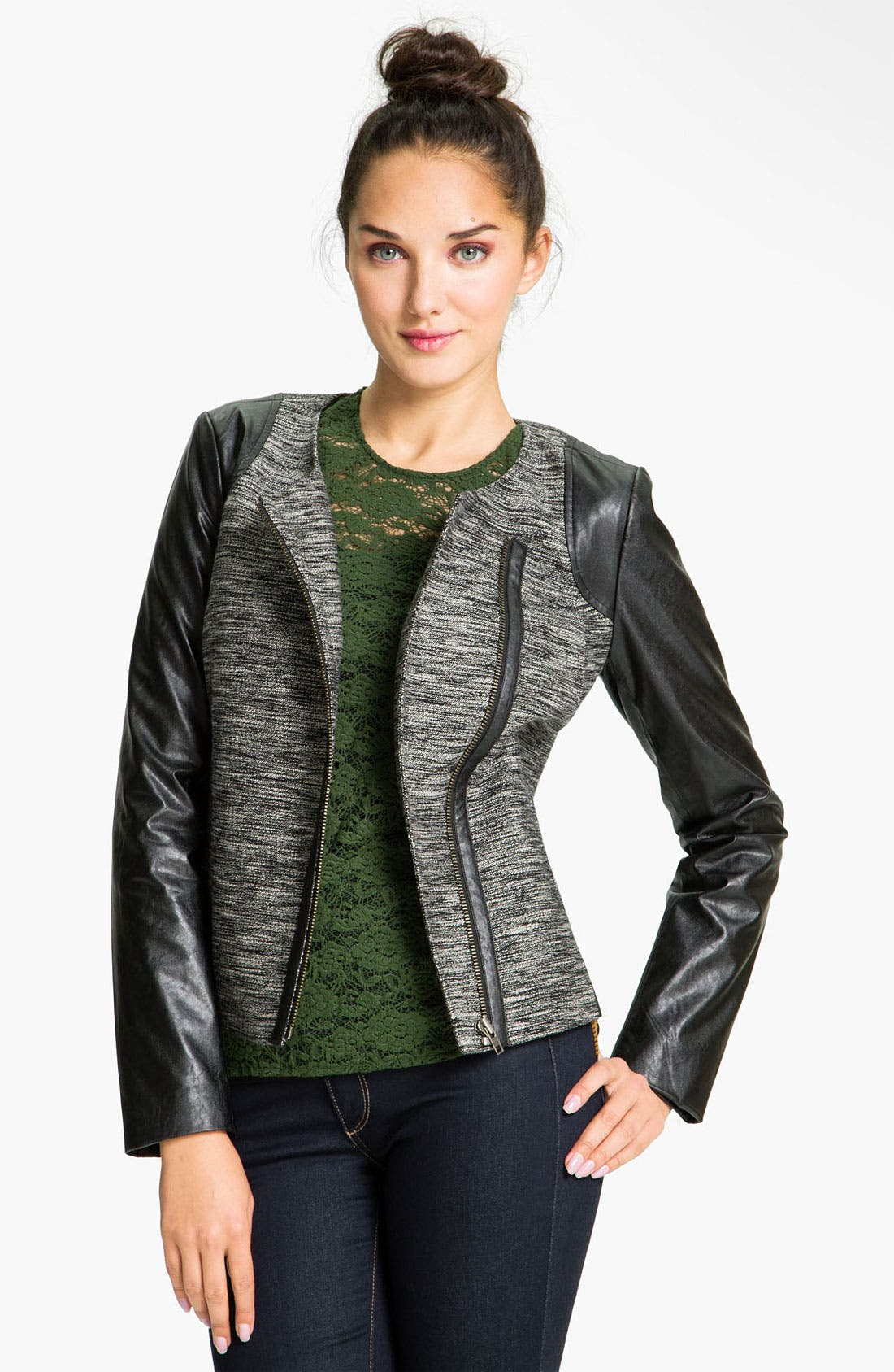 ,                             Faux Leather Sleeve Tweed Jacket,                             Main thumbnail 1, color,                             001