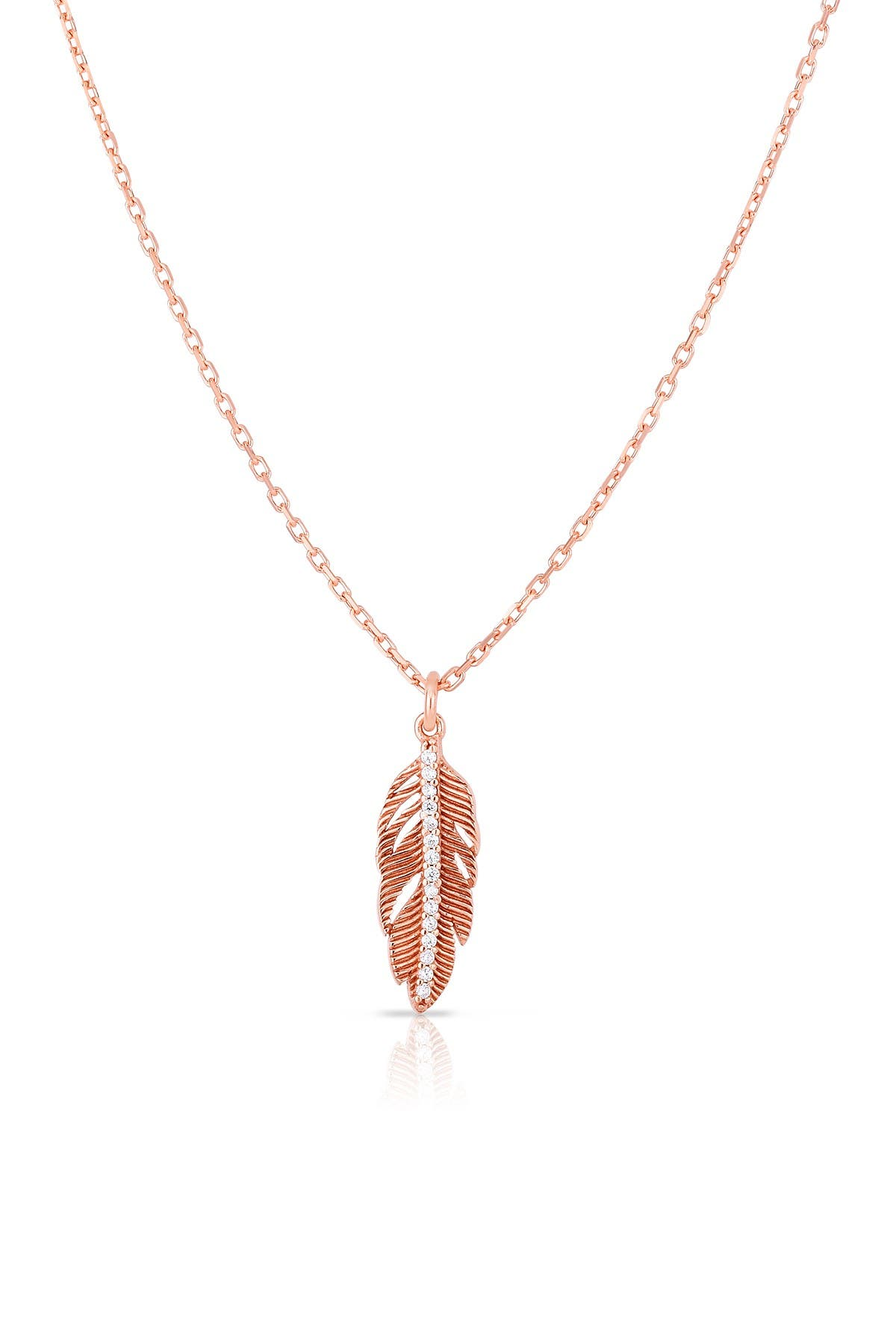 Image of Sphera Milano 18K Rose Gold Plated Sterling Silver Feather Pendant Necklace