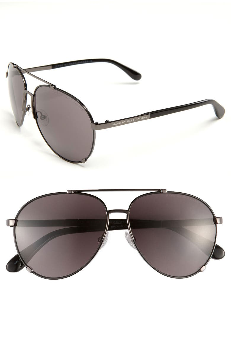 MARC BY MARC JACOBS 58mm Metal Aviator Sunglasses, Main, color, 001