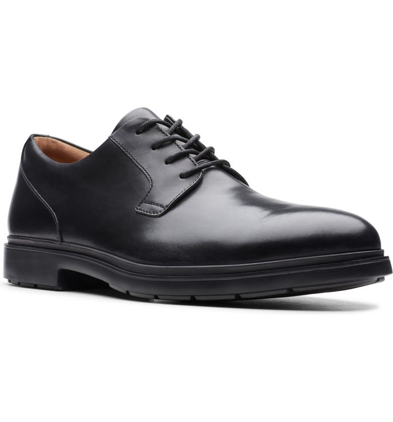 CLARKS<SUP>®</SUP> Un Tailor Plain Toe Derby, Main, color, BLACK LEATHER