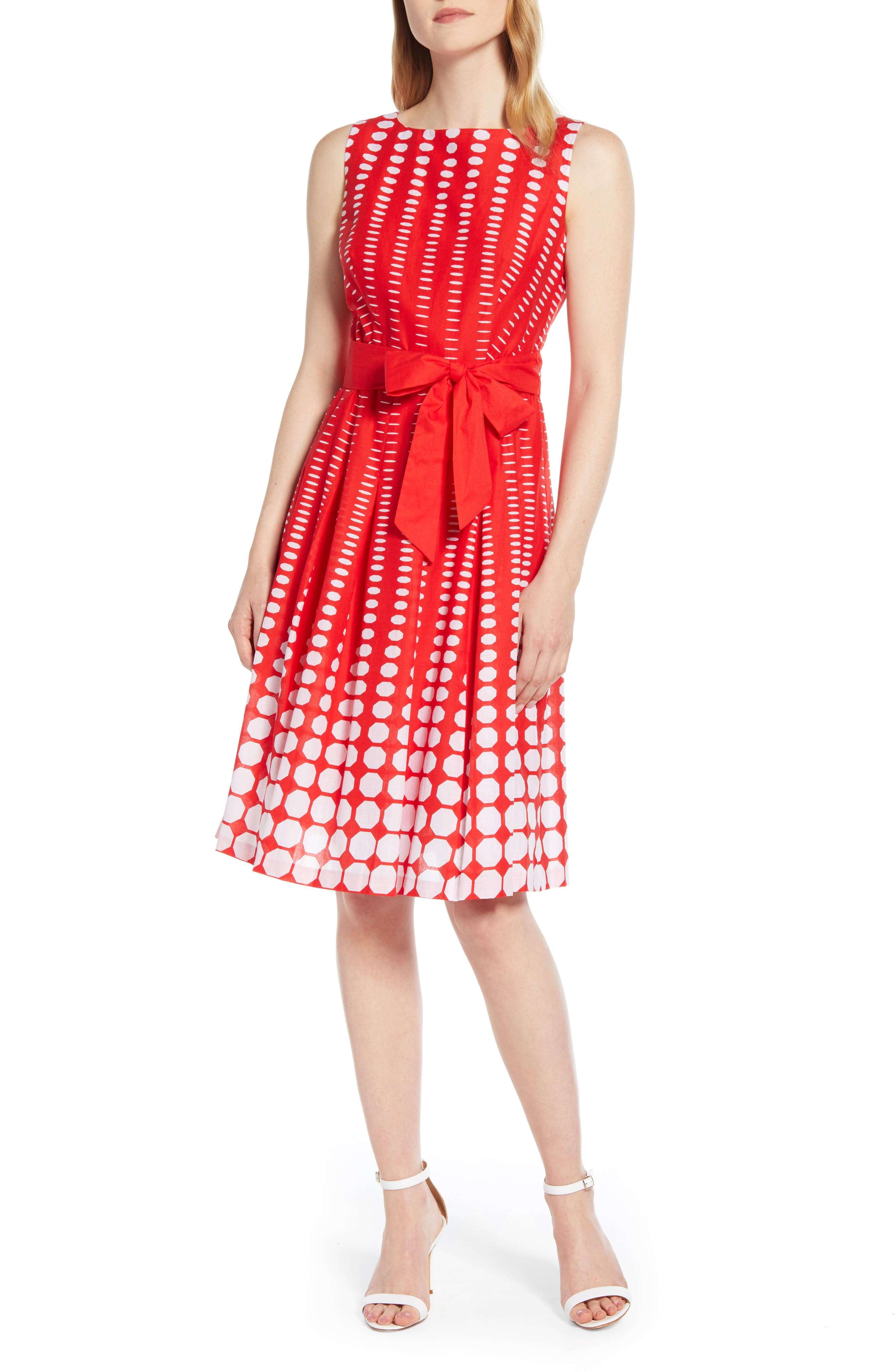 Anne Klein Octogon Print Fit & Flare Cotton Dress, Red