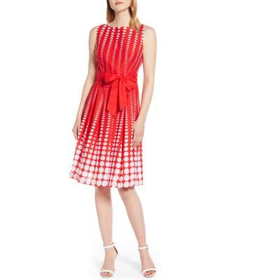 Anne Klein Octagon Print Fit & Flare Cotton Dress, Red