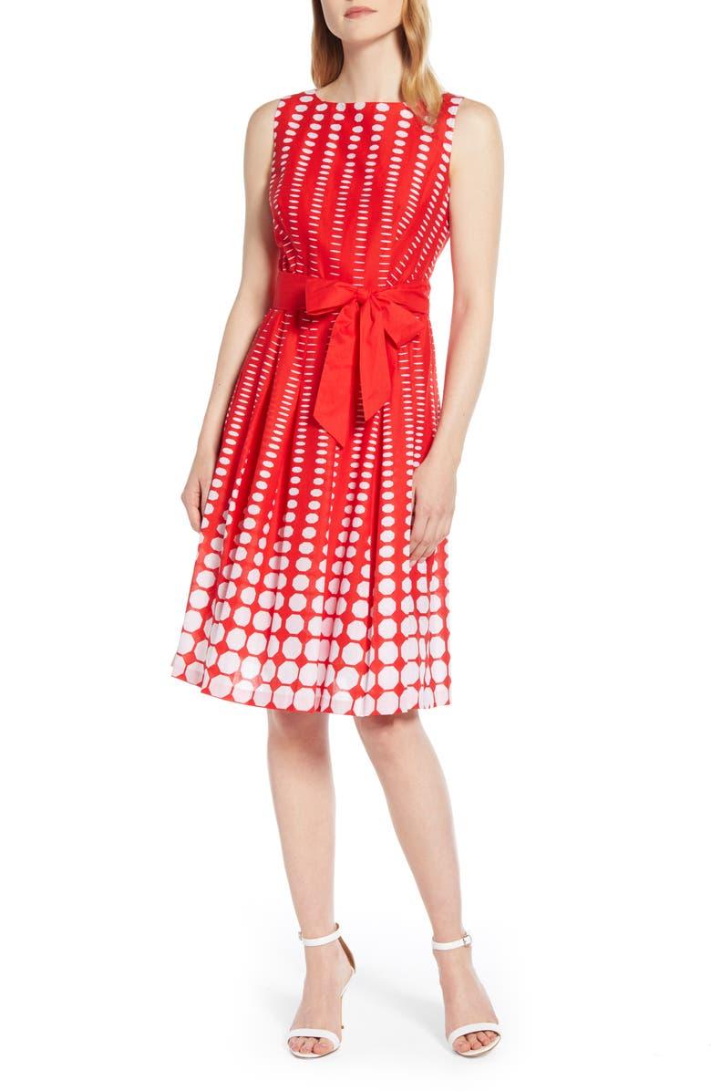ANNE KLEIN Octagon Print Fit & Flare Cotton Dress, Main, color, POPPY/ WHITE