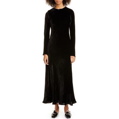 Sies Marjan Josephine Velvet Long Sleeve Maxi Dress, Black