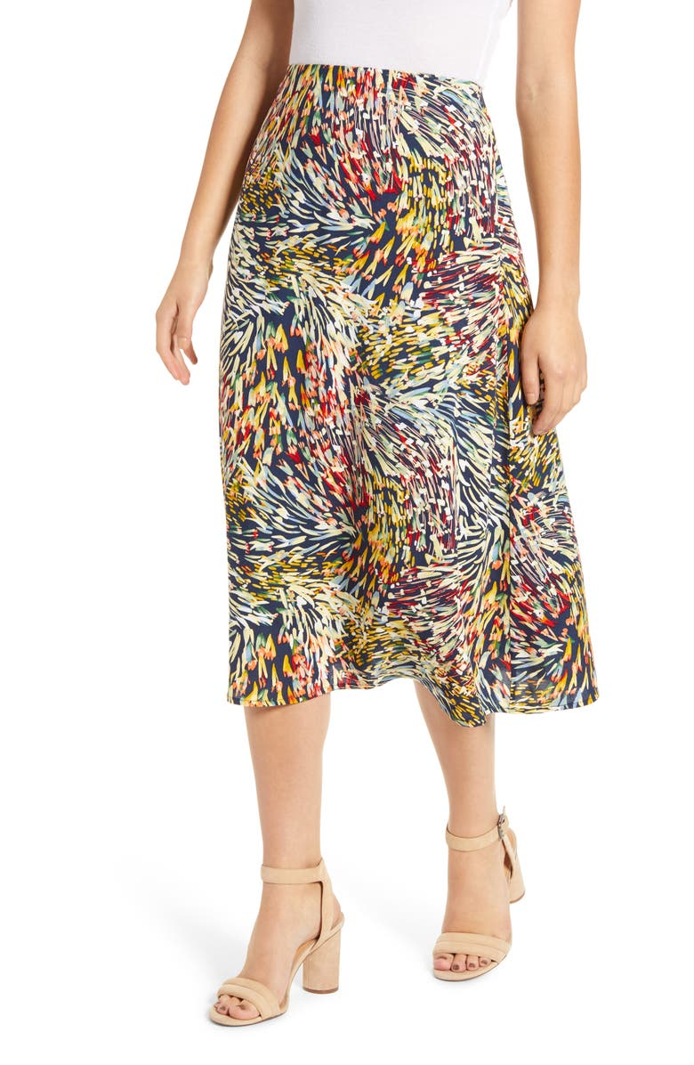 LOVEAPPELLA Palm Print Midi Skirt, Main, color, NAVY ABSTRACT