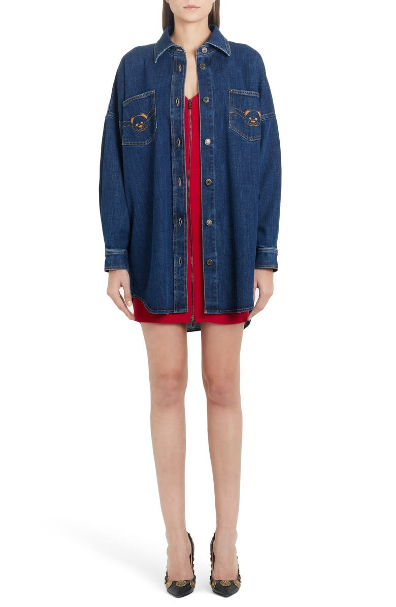 MOSCHINO Bear Logo Long Sleeve Denim Dress, Main, color, BLUE