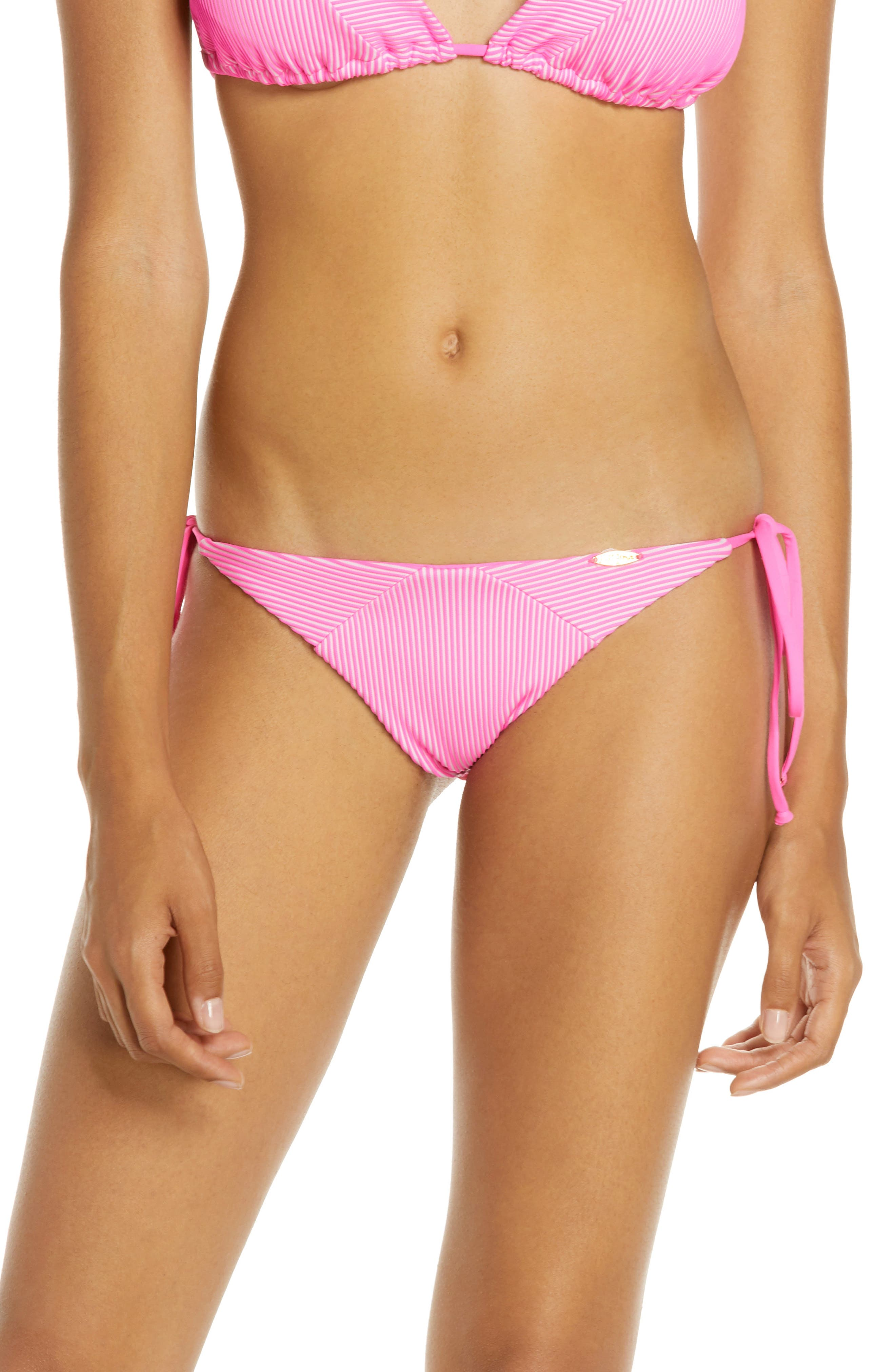 Luli Fama Textured Stripe Bikini Bottoms, Pink