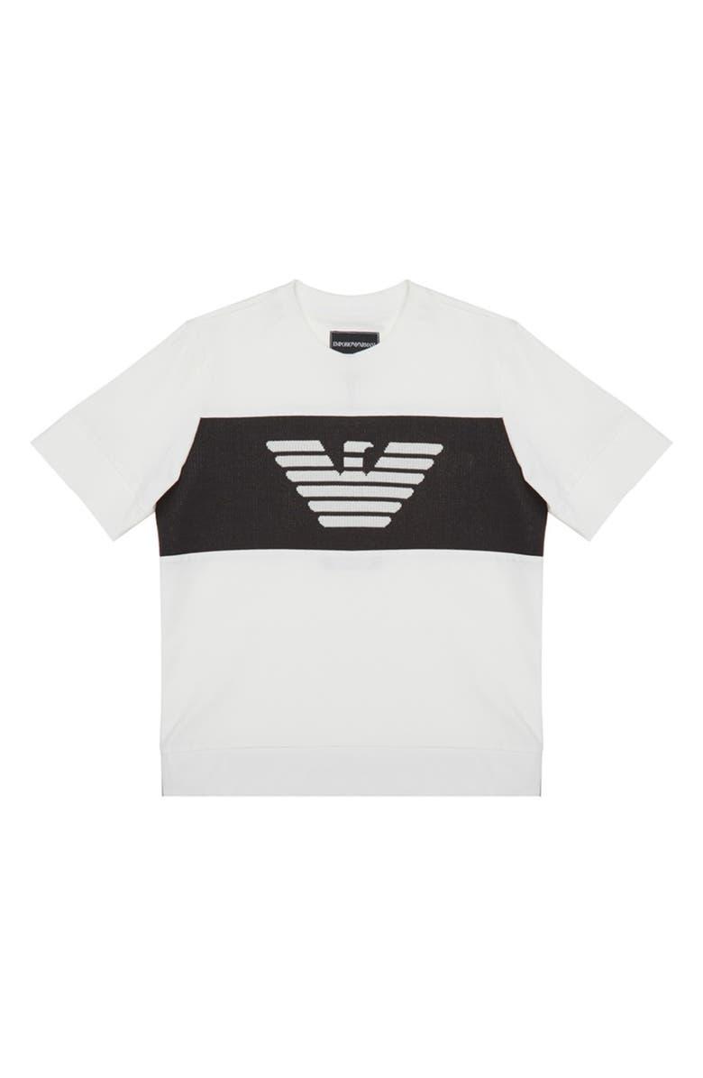 ARMANI JUNIOR Eagle Reverse Logo T-Shirt, Main, color, WHITE