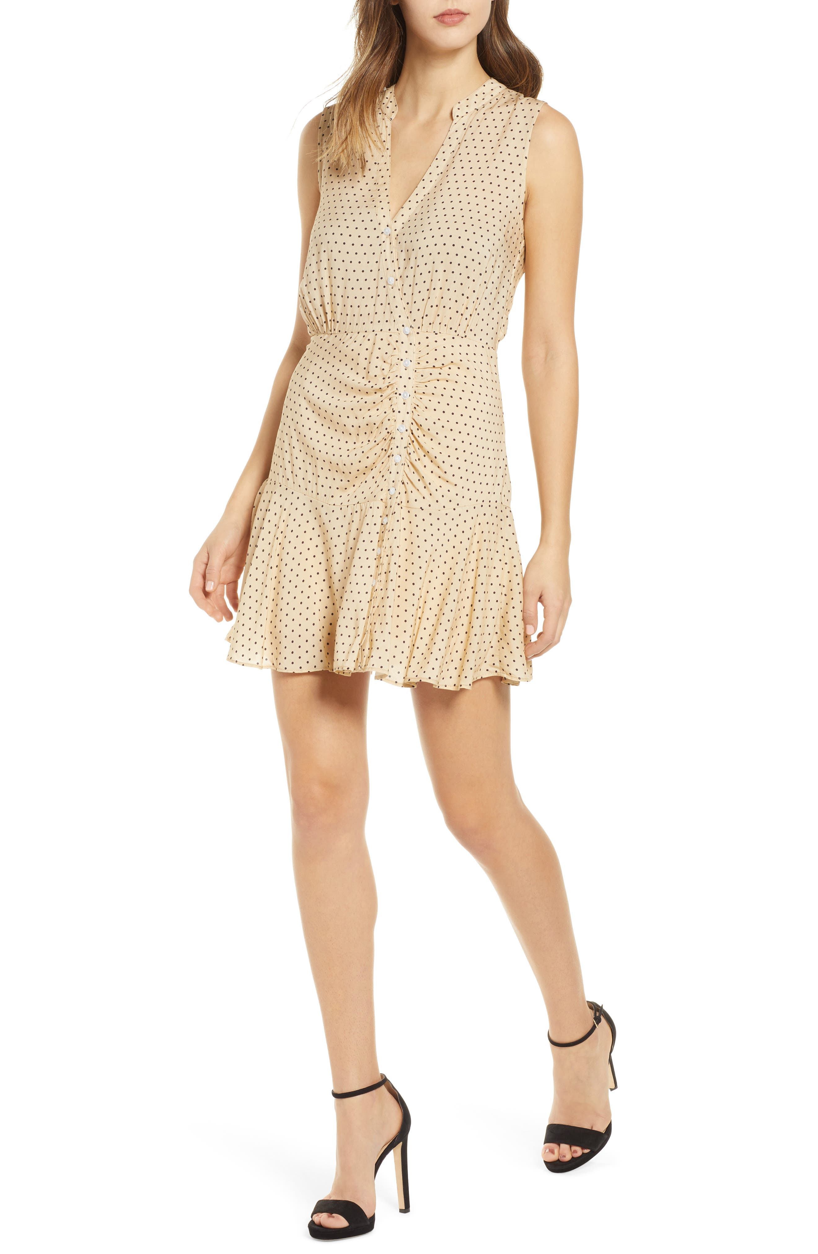 Leith Ruched Dot Minidress, Beige