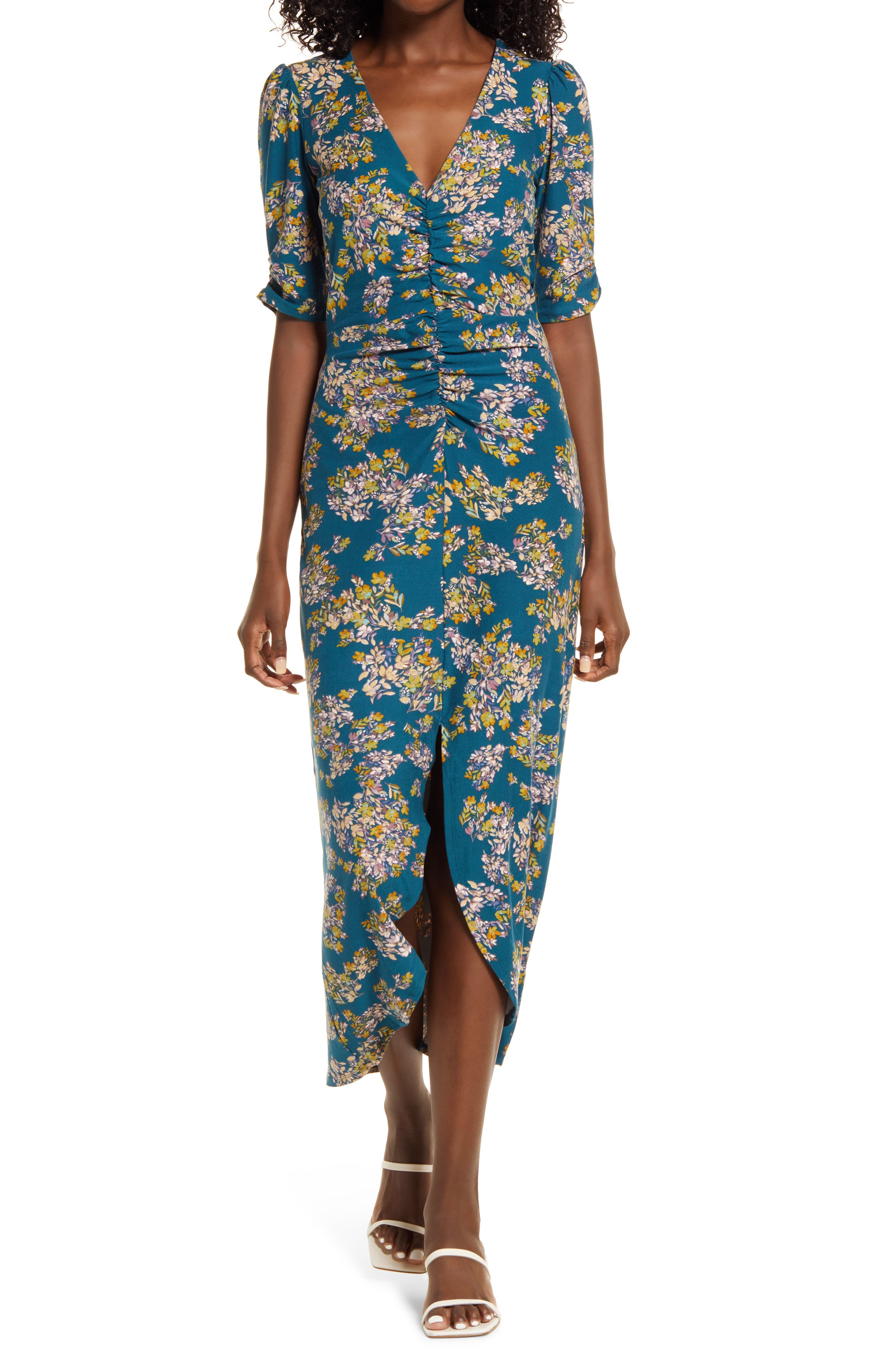 Floral Ruched Midi Dress