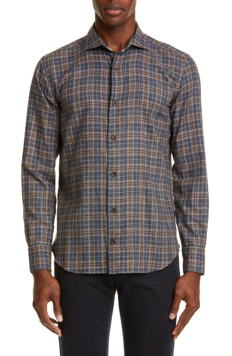 ELEVENTY Slim Fit Plaid Button-Up Shirt, Main, color, 201