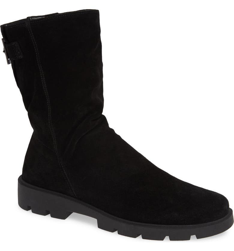 THE FLEXX Movin Up Bootie, Main, color, BLACK WATERPROOF SUEDE