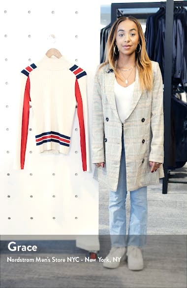 Julee Stripe Ribbed Mock Neck Wool Blend Sweater, sales video thumbnail