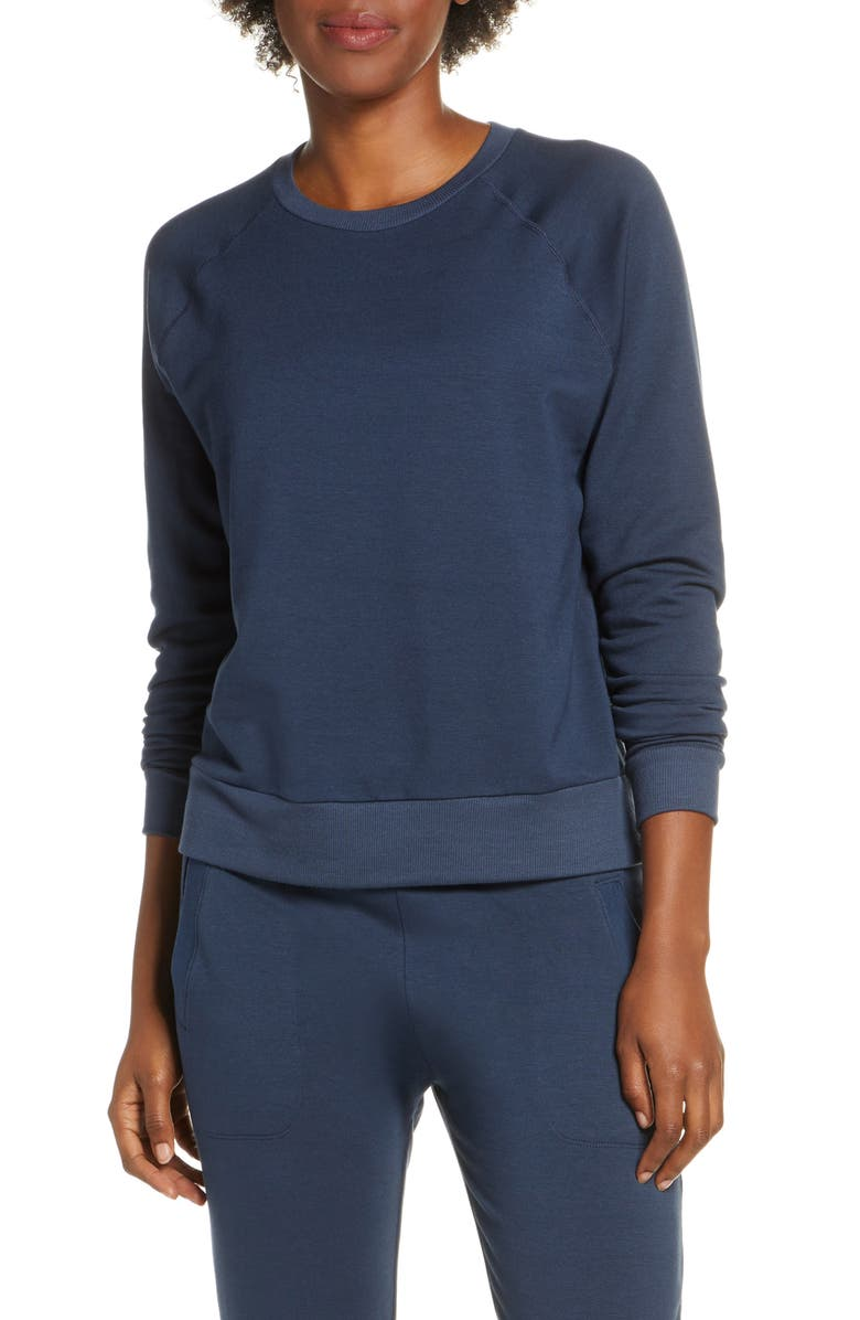 BEYOND YOGA Fleece Raglan Sweatshirt, Main, color, NOCTURNAL NAVY