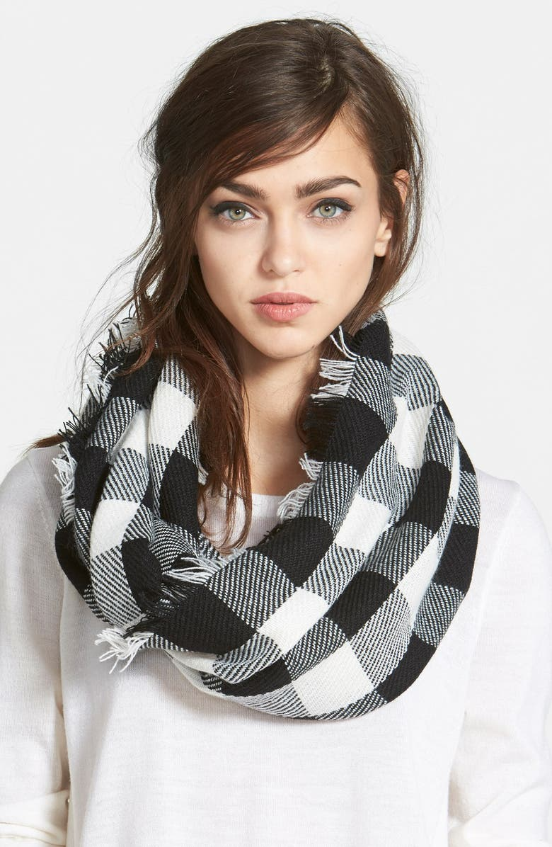 STEVE MADDEN Buffalo Plaid Infinity Scarf, Main, color, 001